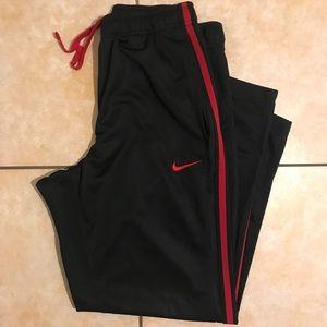 Nike Black/Red Swoosh Logo Athletic Sweatpants S